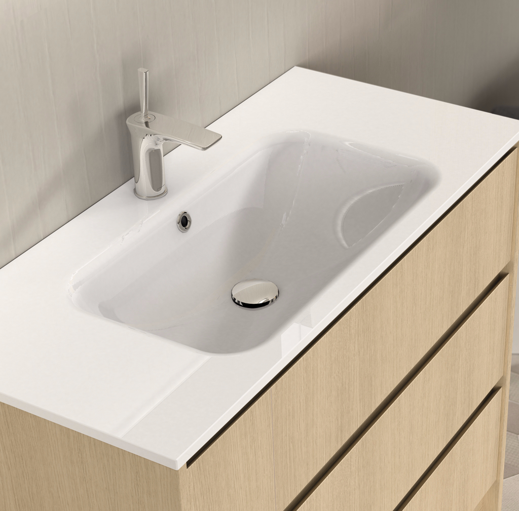 lavabo encimera resina zen seno central